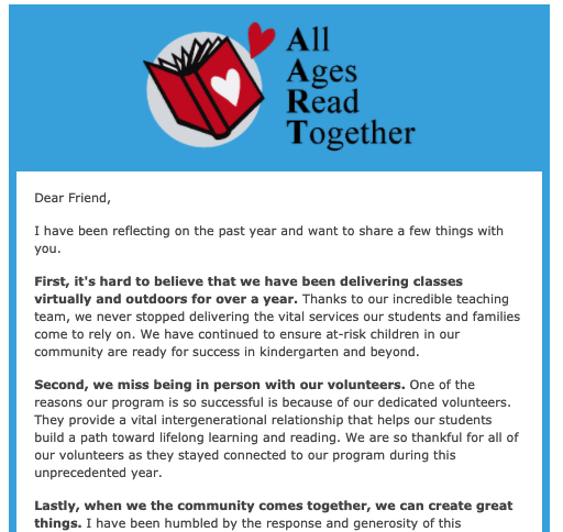 Screen shot of the April 2021 newsletter published by AART.