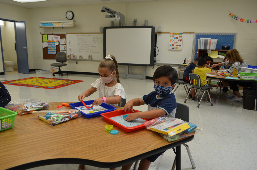 Students working on the shape activty.